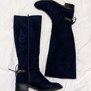 Faux Suede Navy Knee High Riding Boots